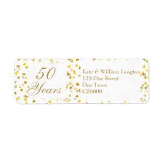 cinquantième Confettis d'or de coeurs Étiquettes D'adresse Retour