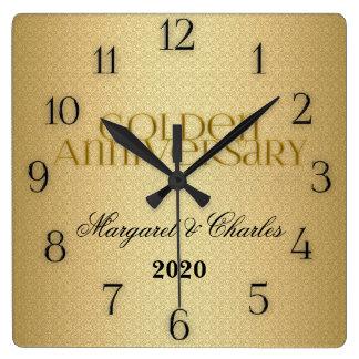 cinquantième Coutume d'Annivsersary de mariage d'o Horloge Carrée
