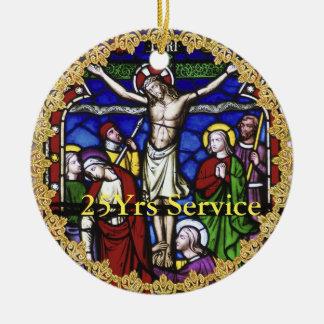 Cinquantième d'anniversaire 15ème de prêtre 20ème ornement rond en céramique