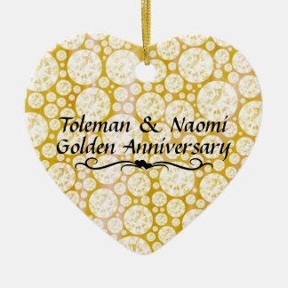 cinquantième Diamants d'anniversaire de mariage   Ornement Cœur En Céramique
