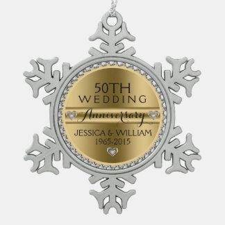 cinquantième Diamants et argent blancs Ornement Flocon De Neige Pewter