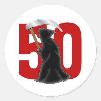cinquantième Faucheuse drôle d'anniversaire Autocollants Ronds