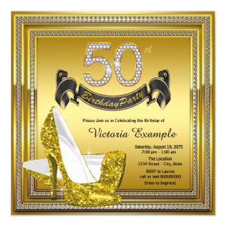 Cinquantième fête d'anniversaire de diamant de carton d'invitation  13,33 cm