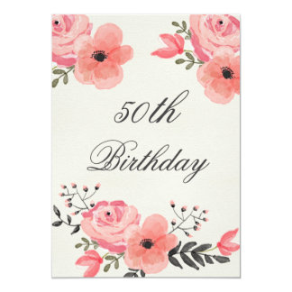 cinquantième Fleurs chics d'aquarelle Carton D'invitation 12,7 Cm X 17,78 Cm