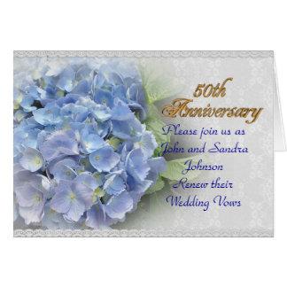 cinquantième hortensias de renouvellement de voeu carte de vœux