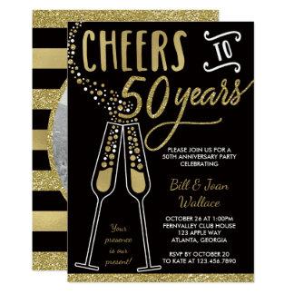 cinquantième Invitation d'anniversaire, or, noir,