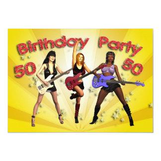 cinquantième Invitation de fête d'anniversaire Carton D'invitation 12,7 Cm X 17,78 Cm