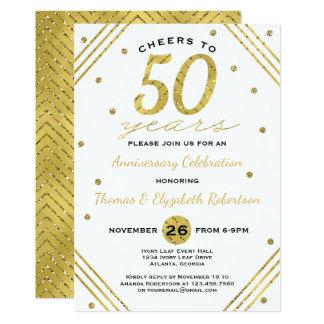 cinquantième Invitation de fête d'anniversaire, or