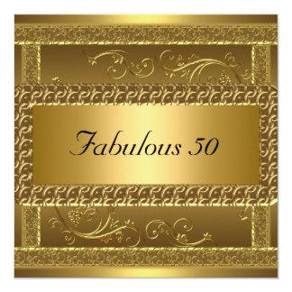 Cinquantième invitation fabuleuse d'or de fête