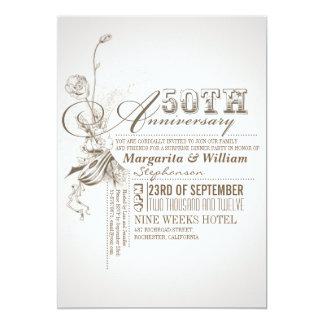 cinquantième invitations d'anniversaire de belle