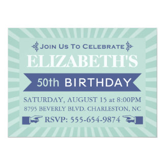 Cinquantième invitations de fête d'anniversaire de