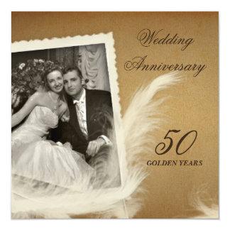 Cinquantième invitations de photo d'anniversaire carton d'invitation  13,33 cm