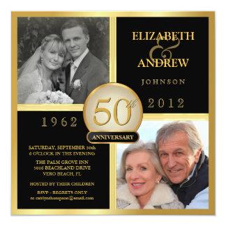 Cinquantième invitations élégantes de photo