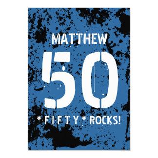 cinquantième Motif grunge BLEU F50Z de roches de Carton D'invitation 12,7 Cm X 17,78 Cm
