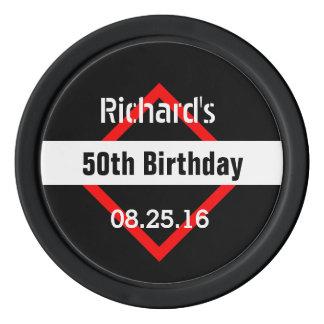 cinquantième Noir d'anniversaire avec le cadre Jetons De Poker