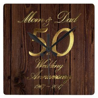 cinquantième Parents de mariage d'or Horloge Carrée