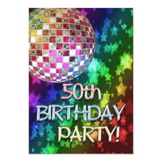 cinquantième partie avec la boule de disco et carton d'invitation  12,7 cm x 17,78 cm
