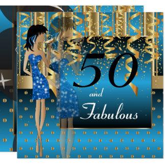 cinquantième Partie de fille de coup Carton D'invitation 13,33 Cm