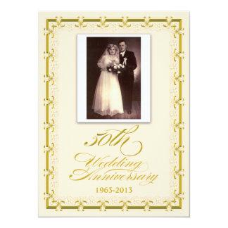 cinquantième Photo de célébration d'anniversaire Carton D'invitation 13,97 Cm X 19,05 Cm