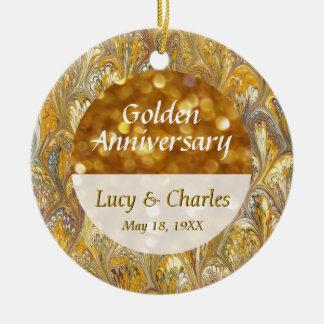 Cinquantième photo d'or commémorative ornement rond en céramique