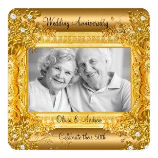 cinquantième Photo florale de diamant d'or Carton D'invitation 13,33 Cm