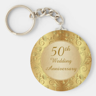 Cinquantième porte - clé floral d'or porte-clé rond