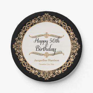 cinquantième Regard de bijou de célébration de Assiettes En Papier