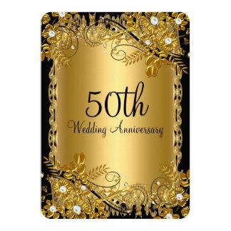 cinquantième Remous floral de diamant noir d'or Carton D'invitation 11,43 Cm X 15,87 Cm