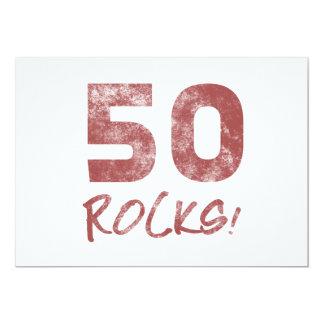 cinquantième Roches d'anniversaire Carton D'invitation 12,7 Cm X 17,78 Cm
