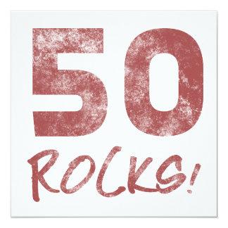 cinquantième Roches d'anniversaire Carton D'invitation 13,33 Cm