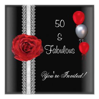 cinquantième Rose rouge blanc de noir de fête Carton D'invitation 13,33 Cm