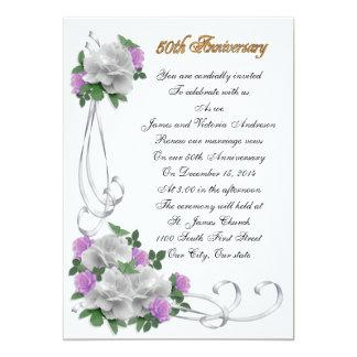 cinquantième Roses blancs de renouvellement de Carton D'invitation 12,7 Cm X 17,78 Cm