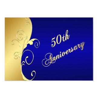 cinquantième Rouleaux d'or d'anniversaire avec la Carton D'invitation 12,7 Cm X 17,78 Cm
