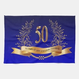 Cinquantième serviettes de cuisine heureuses