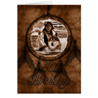 cinquantième Thème de Natif américain Carte De Vœux