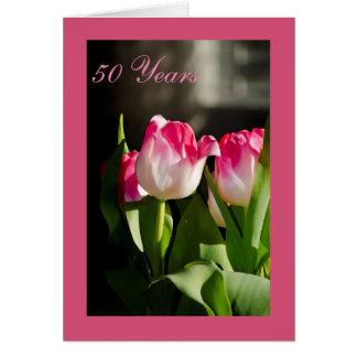 cinquantième Tulipes de rose de carte