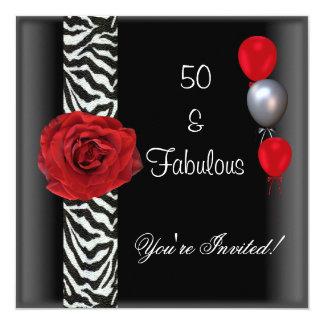 cinquantième Zèbre blanc de rose rouge de noir de Carton D'invitation 13,33 Cm