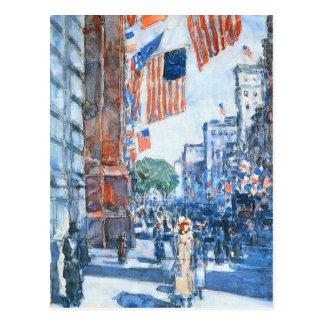 Cinquième Avenue de drapeaux par Childe Hassam, Carte Postale