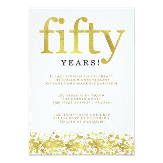 Ciquantième confettis d'or de Faux d'anniversaire Carton D'invitation 12,7 Cm X 17,78 Cm