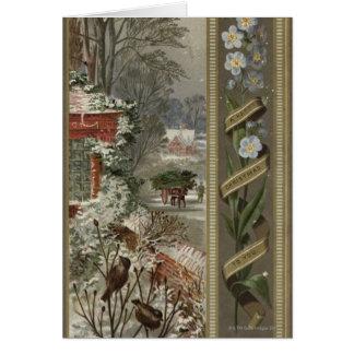 Circa 1871 : Une scène hivernale de Noël Carte De Vœux