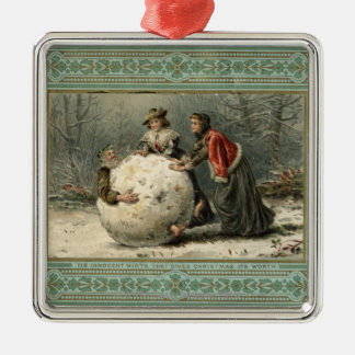 Circa 1879 : Homme de petit pain de deux femmes Ornement Carré Argenté