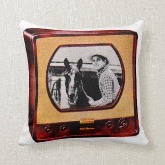 circa l'exposition de cowboy de téléviseur de 1951 coussin décoratif