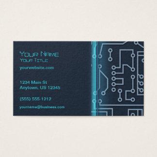 Circuits bleus d'ordinateur cartes de visite
