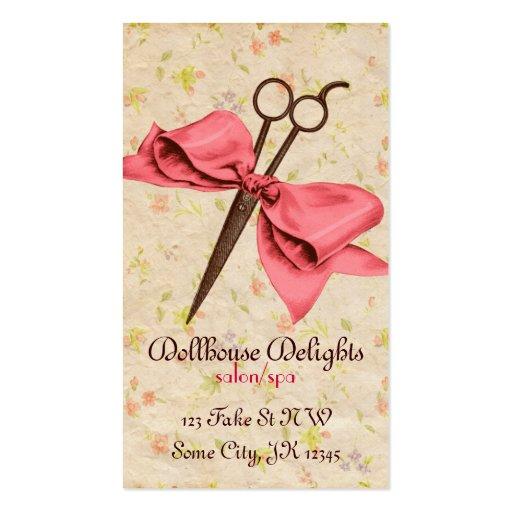 cisaillements floraux de coiffeur d'arc girly vint cartes de visite professionnelles