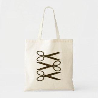 Ciseaux de Brown/rayures d'or de ciseaux Tote Bag