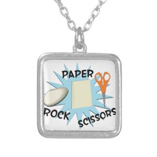 Ciseaux de papier de roche pendentif carré
