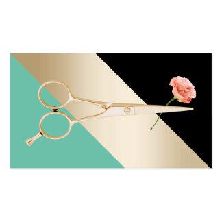 Ciseaux du coiffeur |Gold et rayures modernes de Carte De Visite Standard