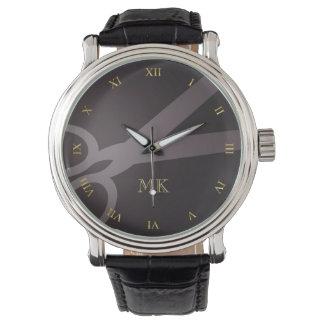 Ciseaux et monogramme de charbon de bois montres bracelet