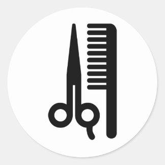 Ciseaux et peigne adhésifs ronds