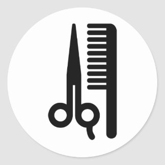 Ciseaux et peigne sticker rond